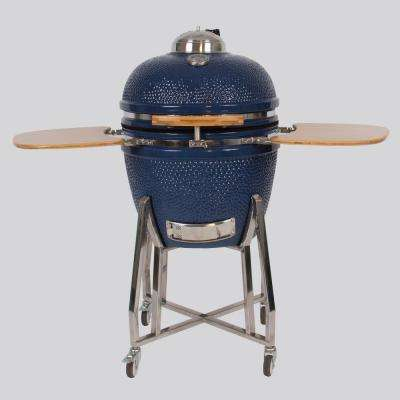 22 in. Kamado Ceramic Grill & Smoker Value Bundle with Electric Starter, Cover and Deflector Stone in Blue