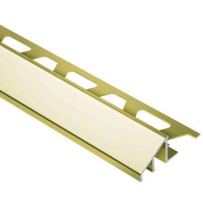 Reno-U Bright Brass Anodized Aluminum 1/2 in. x 8 ft. 2-1/2 in. Metal Reducer Tile Edging Trim