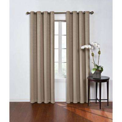 blackout round and round mushroom polyester grommet blackout curtain 52 in w x 63