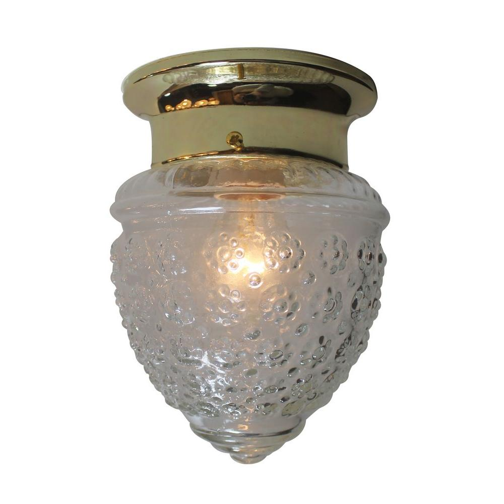 Bel Air Lighting 1-Light Polished Brass Flushmount with Pineapple Glass Shade