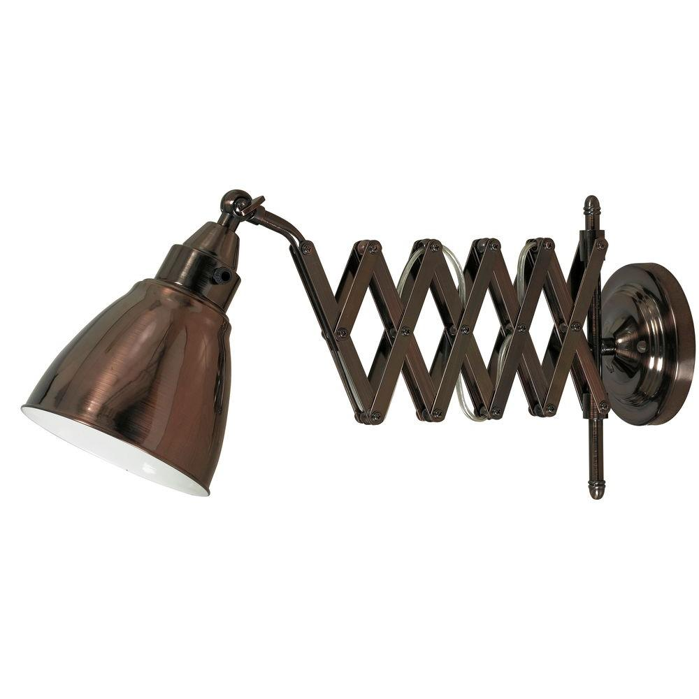 Floren Copper Bronze Swing Arm Wall Light 32197cbz The Home Depot