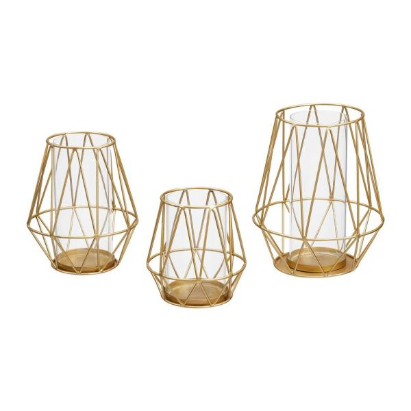 Stylewell Stylewell Gold Metal Wire Hurricane Candle Holder Set Of 3 M21952g The Home Depot