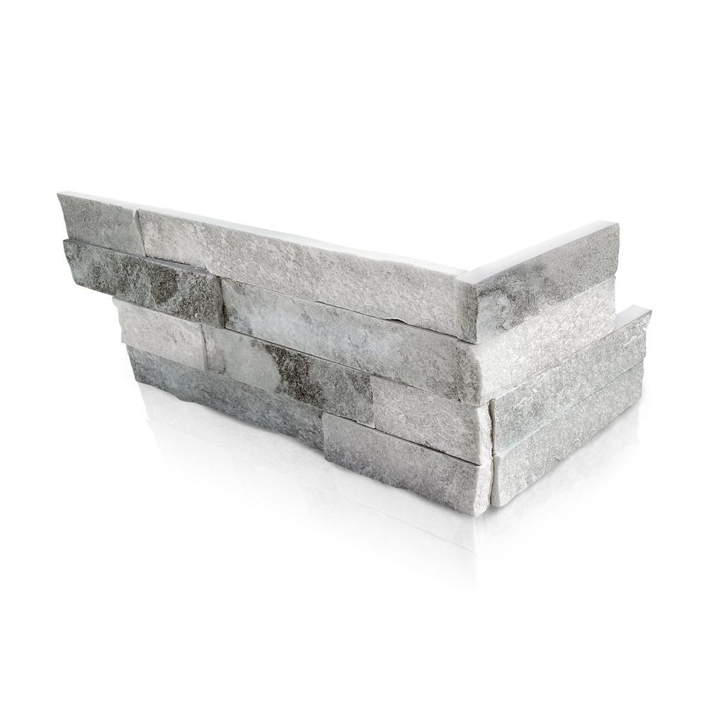 Alaska White 6 x 16 x 8 in. Natural Stacked Stone Veneer Corner Siding Exterior/Interior  Wall Tile (2-Box/12.84 sq ft)