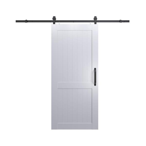 36 in. x 84 in. Millbrooke White H Style Ready to Assemble PVC Vinyl Sliding Barn Door with Hardware Kit