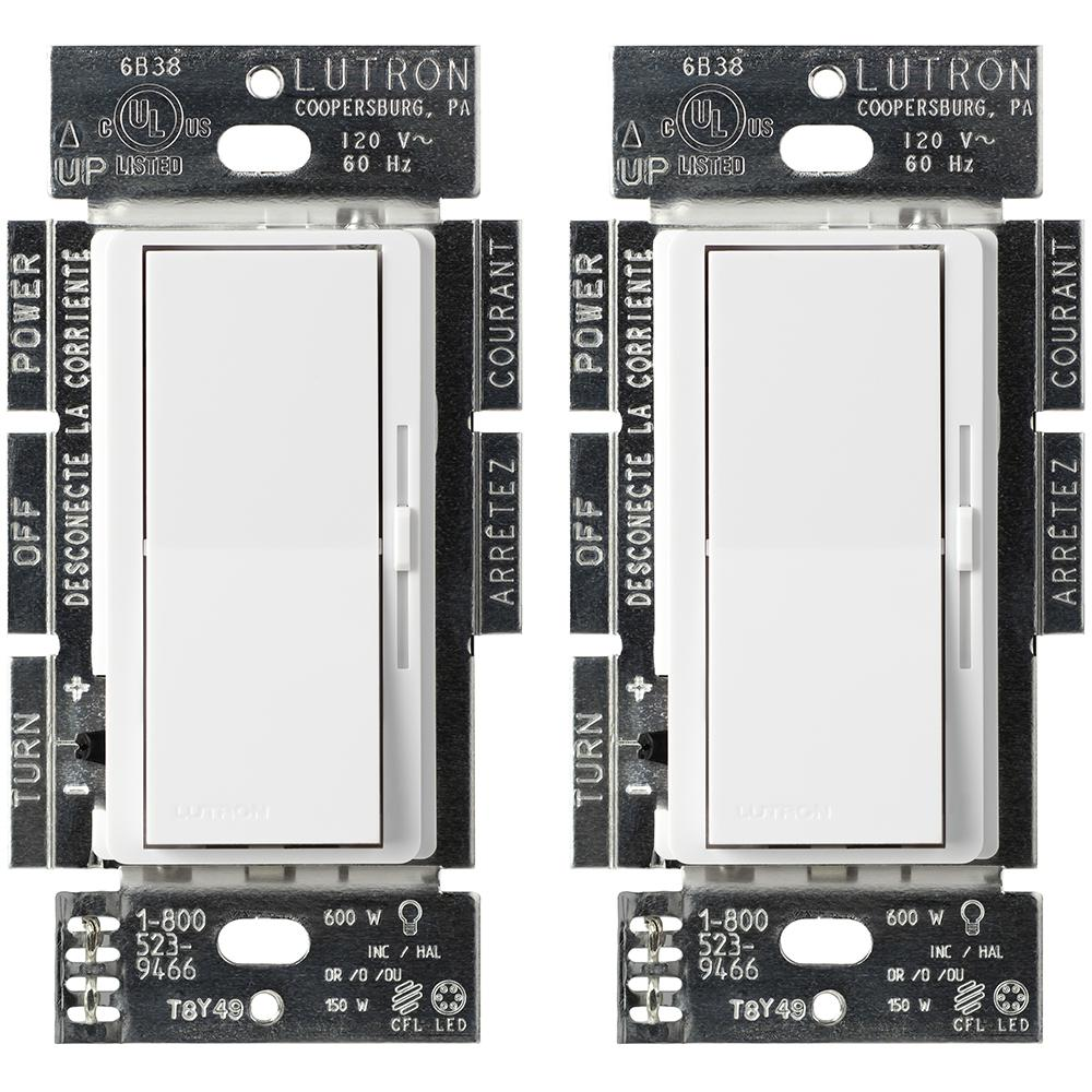 Lutron Wiring Devices Light Controls Electrical The Home Depot Three Way Switch Materials Single Pole Or 3 Diva Cl Dimmer For Dimmable Led Halogen