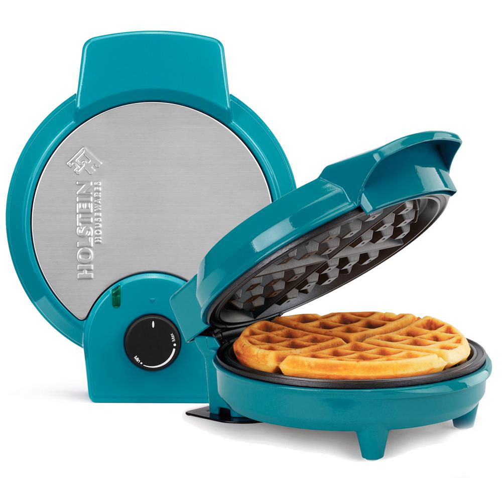 Holstein Housewares Non-Stick Waffle Maker Teal (Blue)
