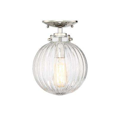 1-Light Polished Nickel Semi-Flush Mount with Clear Ribbed Glass