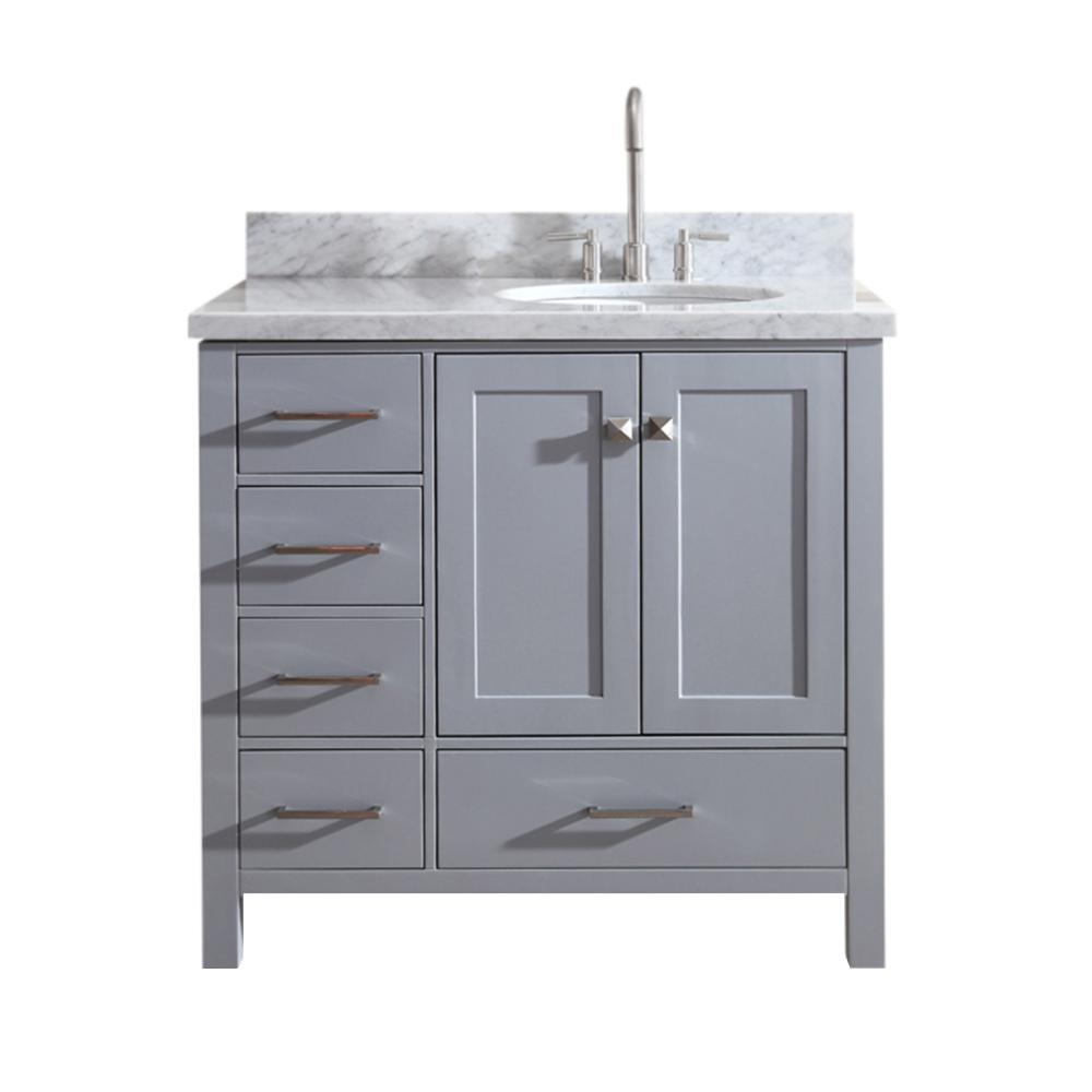 Ariel Cambridge 37 in. Bath Vanity in Gray with Marble Vanity Top in Carrara White with White Basin