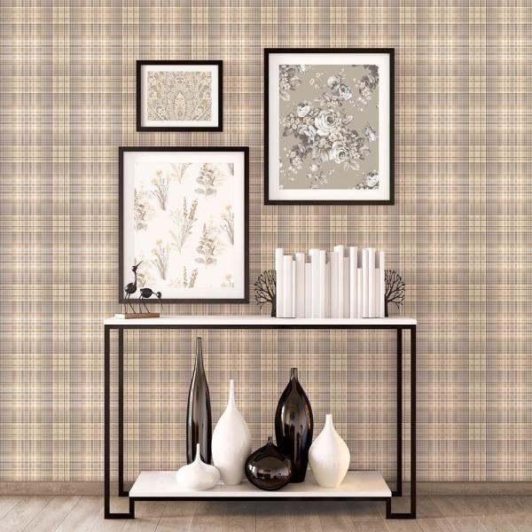 Blown Vinyl Orange Red Check Plaid Kitchen Wallpaper Coffee Beans Cappuccino