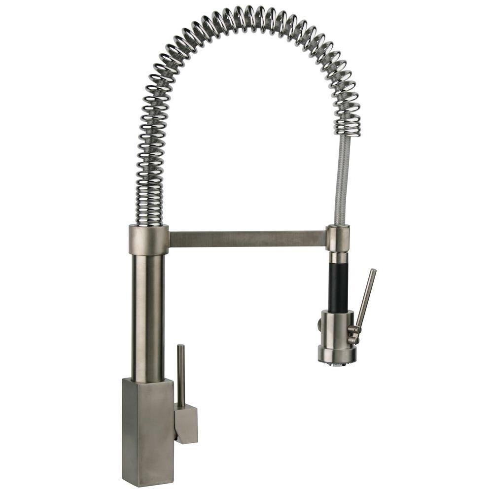 Latoscana Dax Single Handle Pull Down Sprayer Kitchen Faucet With High Arc Spring Spout In Brushed Nickel