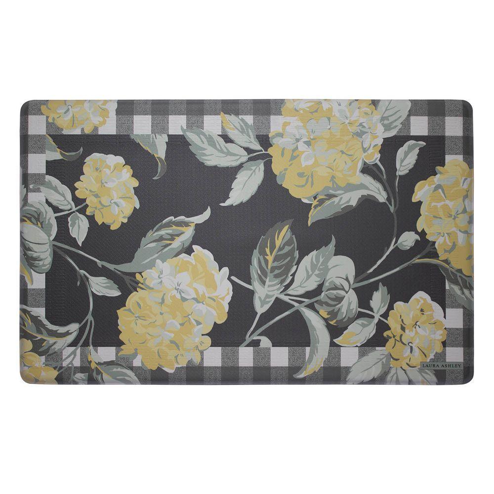 Hydrangea Checkered Floral Chamomile 20 in. x 32 in. Memory Foam Kitchen Mat