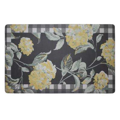 Hydrangea Checkered Floral Chamomile 20 in. x 32 in. Memory Foam Kitchen Mat