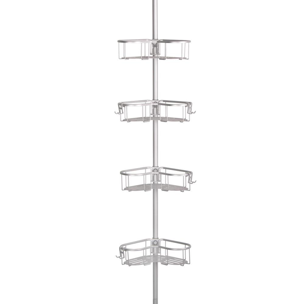 Flat Shelf Tension Pole Caddy in Rustproof Satin Chrome Finish with
