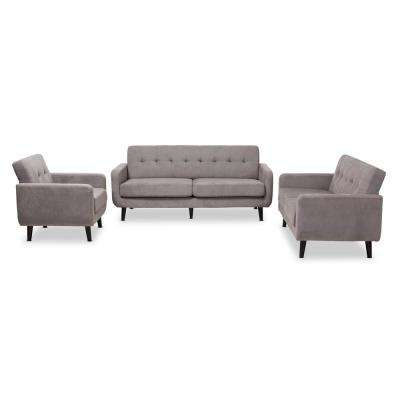 Carina 3-Piece Light Gray Living Room Set