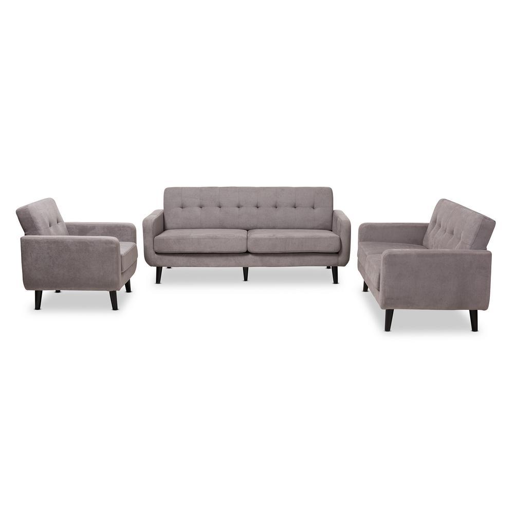 Carina 3 Piece Light Gray Living Room Set