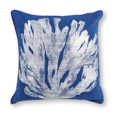 Blue/Silver Coral 18 in. x 18 in. Decorative Pillow