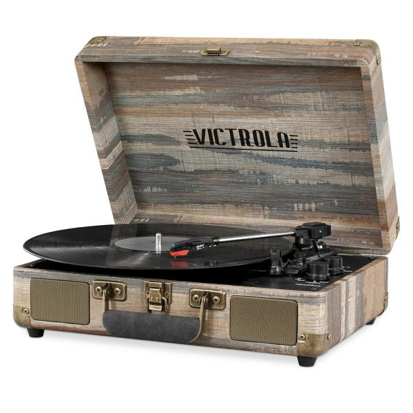 Bluetooth Suitcase Record Player with 3-Speed Turntable, Wood