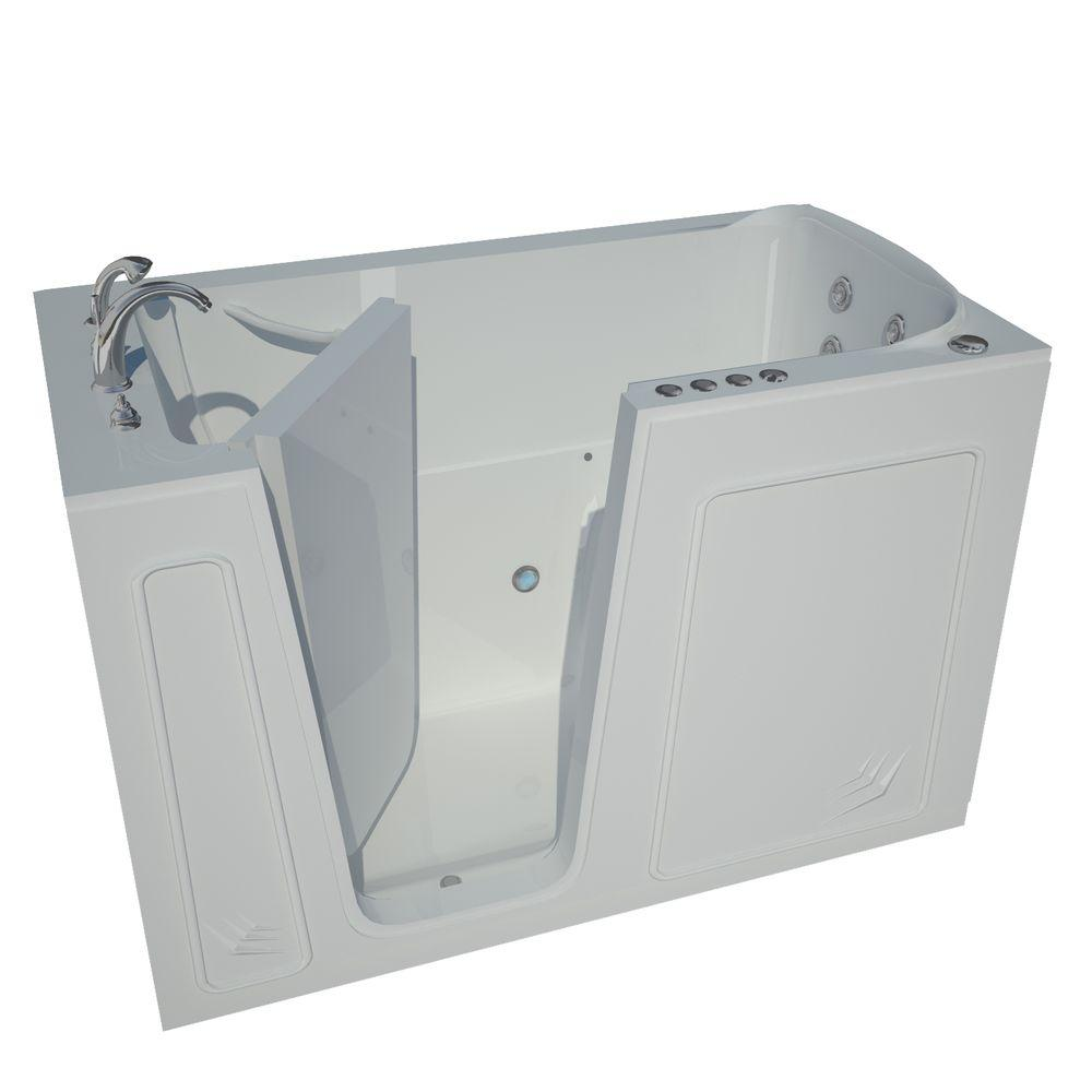 Universal Tubs Nova Heated 5 Ft Walk In Air And Whirlpool Jetted Tub In White With Chrome Trim H3260lwdch The Home Depot