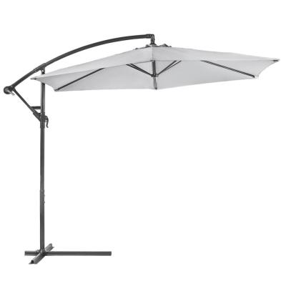 10 ft. Aluminum Outdoor Hanging Market Patio Umbrella in Dark Grey