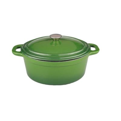 Neo 8 Qt. Green Oval Cast Iron Casserole Dish with Lid