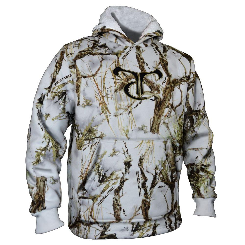 TrueTimber Camo Men's Extra Large MC2 Snow Camouflage High Pile Fleece Hoodie with TC Logo