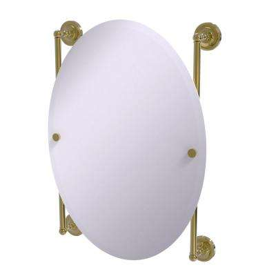 Prestige Regal Collection Oval Frameless Rail Mounted Mirror in Unlacquered Brass