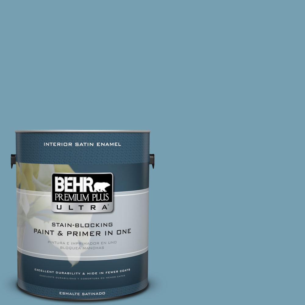 BEHR Premium Plus Ultra 1-gal. #S480-4 Saga Blue Satin Enamel Interior Paint