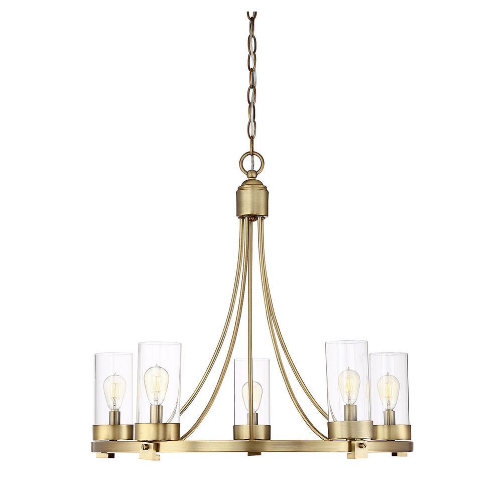 Filament Design 5-Light Natural Brass Chandelier