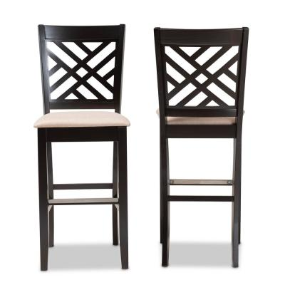 28.3 in. Jason Sand and Espresso Brown Bar Stool (Set of 2)