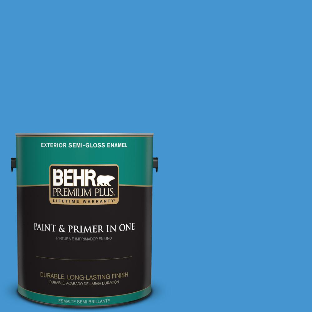 1-gal. #P510-5 Perfect Sky Semi-Gloss Enamel Exterior Paint