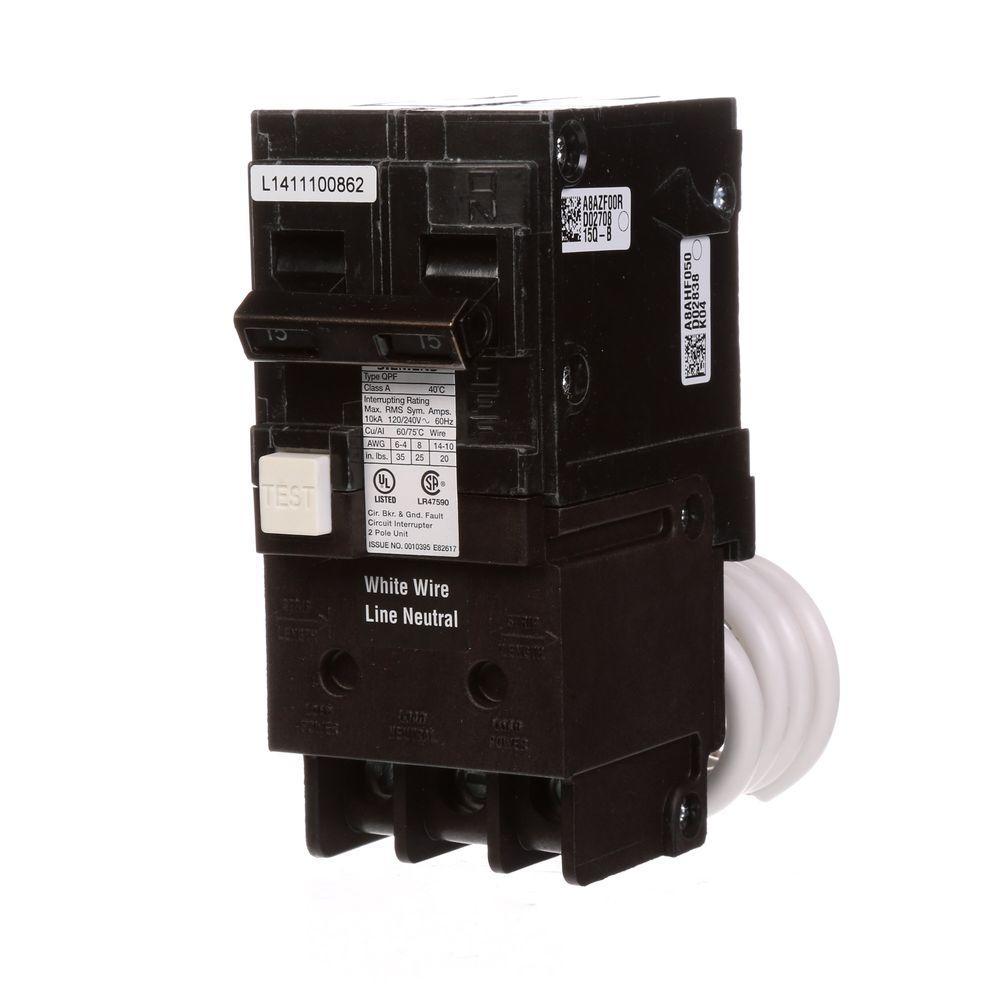 15 Amp Double Pole Type QPF2 GFCI Circuit Breaker