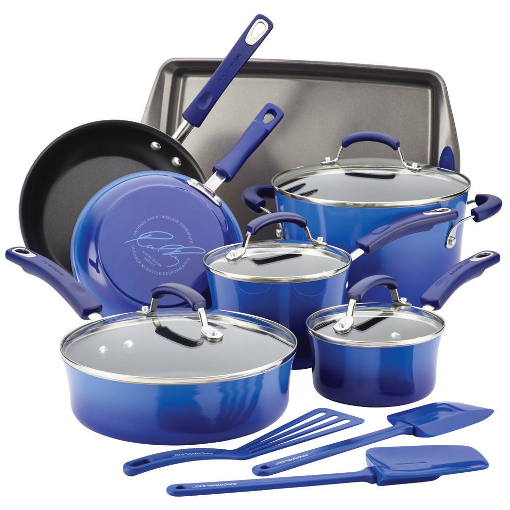 Rachael Ray 14-Piece Blue Gradient Cookware Set with Lids