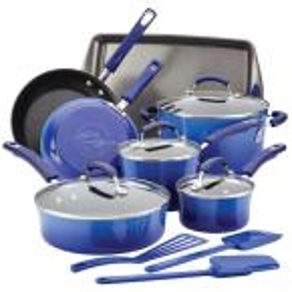 14-Piece Blue Gradient Cookware Set with Lids