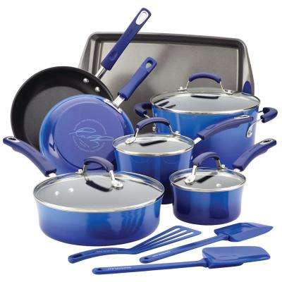 14-Piece Blue Gradient Cookware Set with Lids