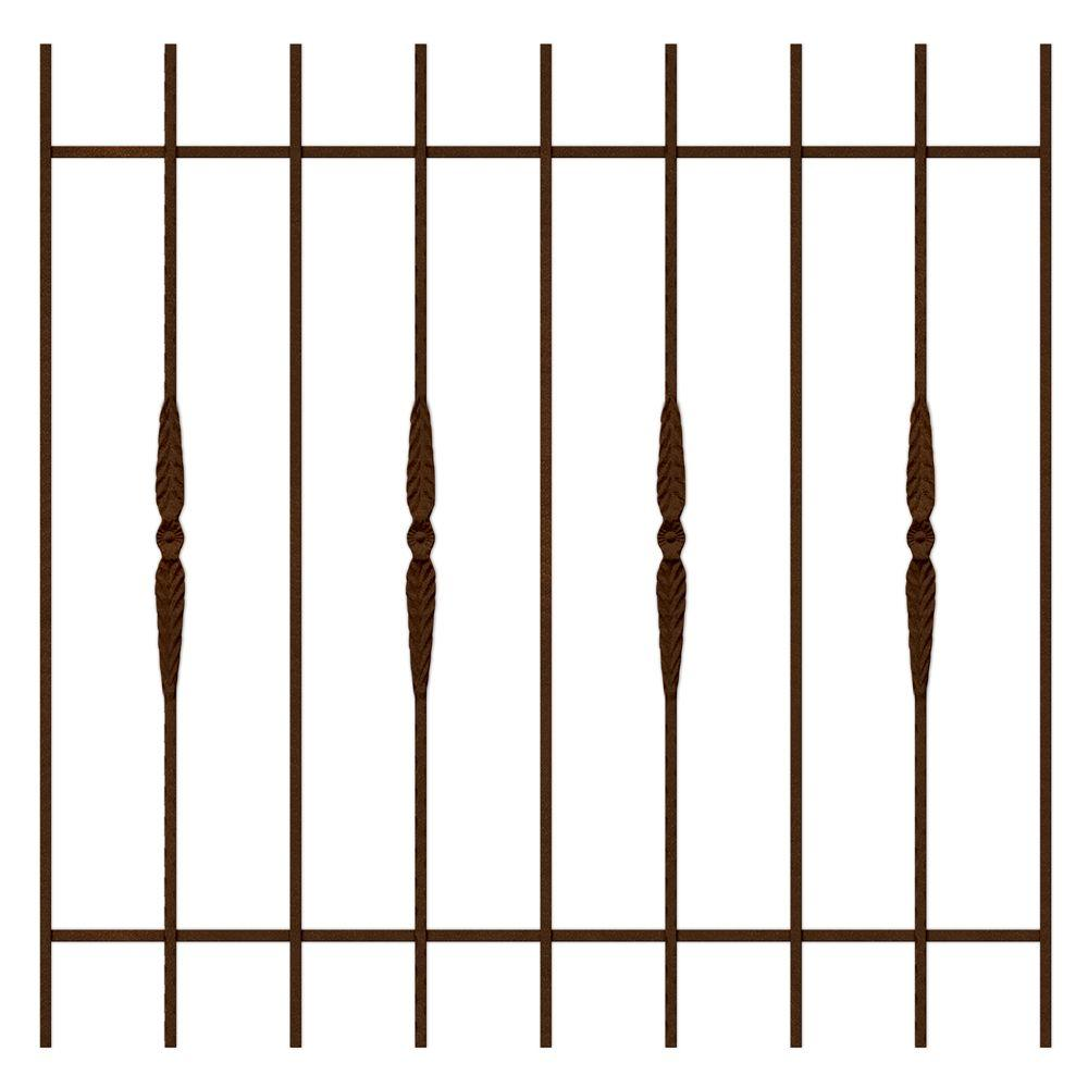 Unique Home Designs Cottage Rose 48 in.x 48 in. Copper 9-Bar Window Guard-DISCONTINUED
