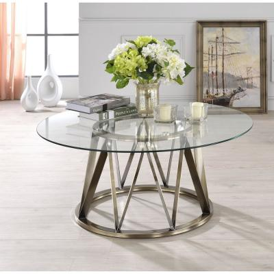 Perjan Gold with Circular Glass Coffee Table