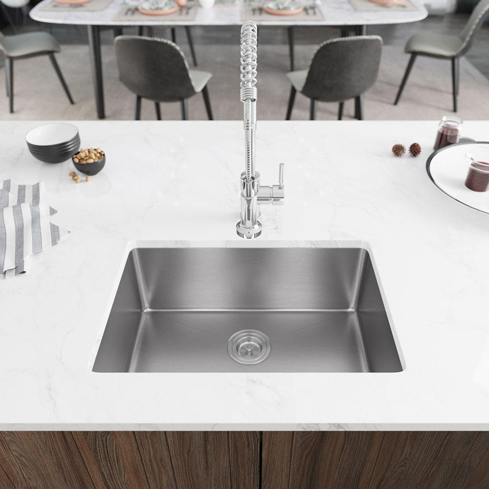 Rene Undermount Stainless Steel 26 In Single Basin Kitchen Sink R1 1034s 14 The Home Depot