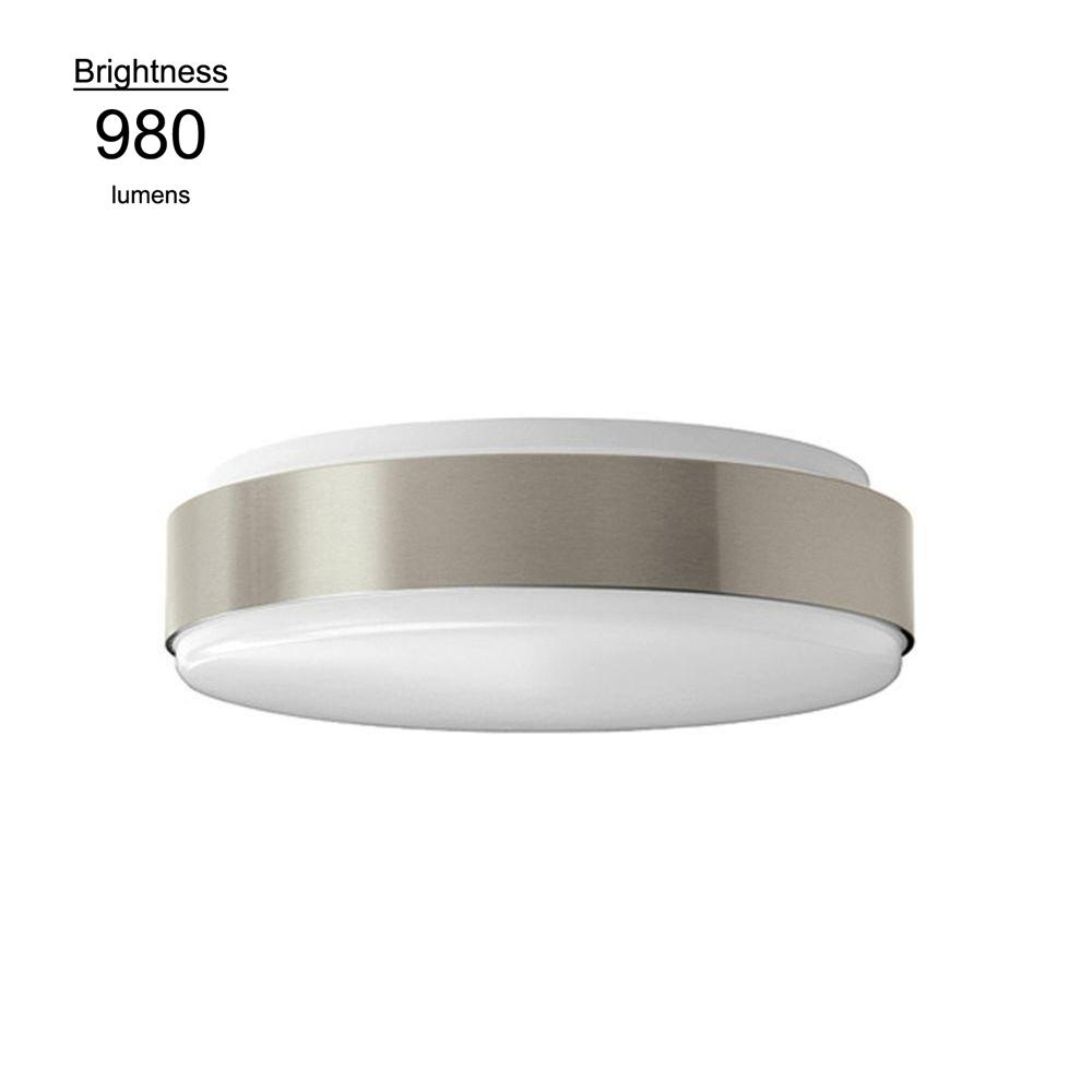 Hampton Bay 11 in. 100 Watt Equivalent Brushed Nickel Bright White Round Integrated LED Flushmount Ceiling Light Fixture