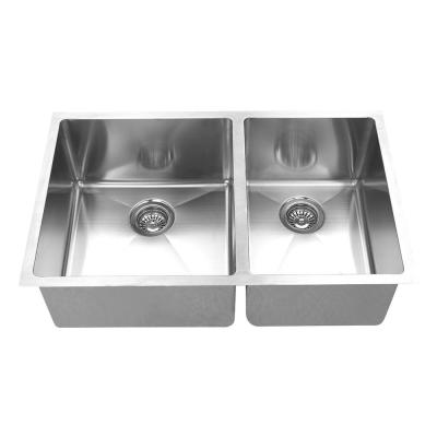 Hand Made 16-Gauge R15 60/40 Undermount 304 Stainless Steel 32 in. Double Bowl Kitchen Sink