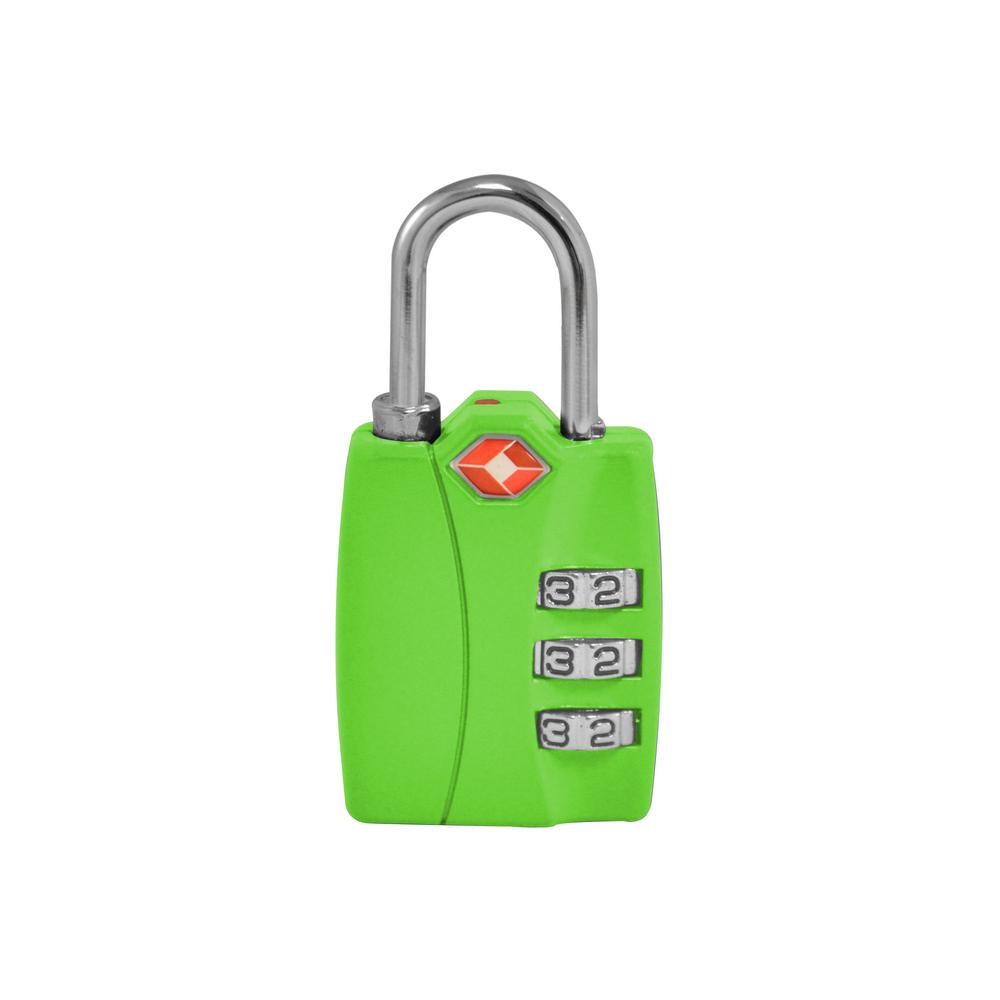 3 Digit Combination Padlock in Green - TSA Approved