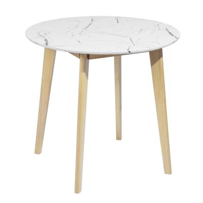 White Marble Surface Round MDF Solid Wood Dining Table