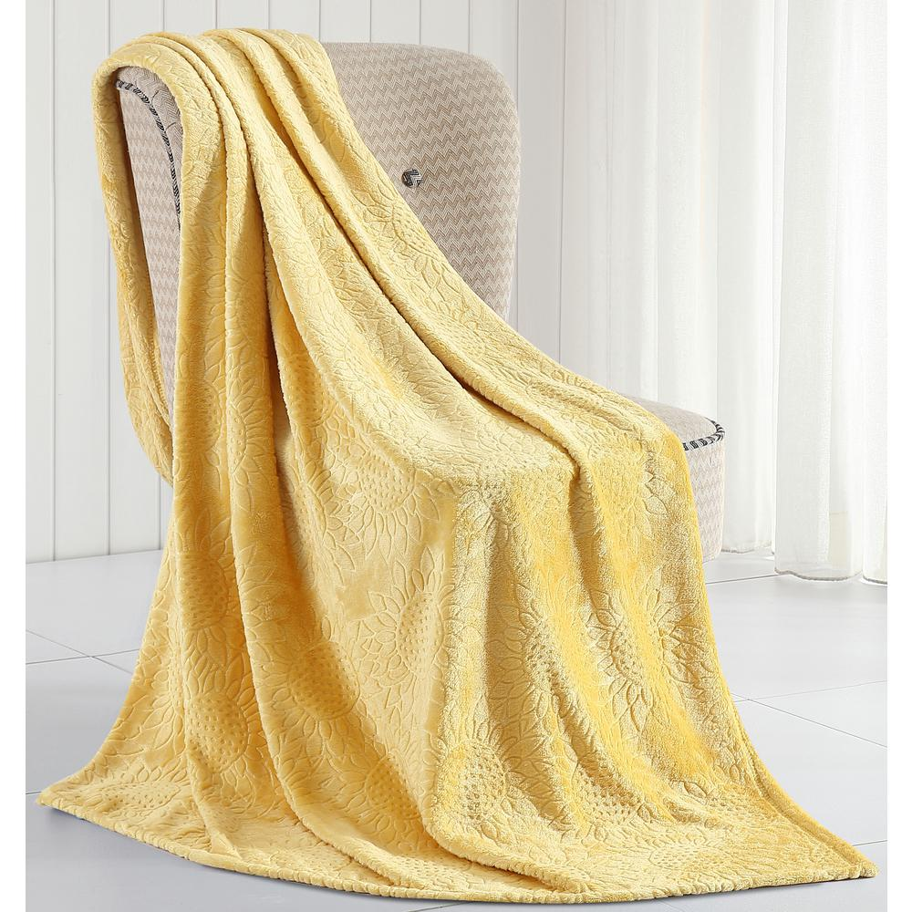 Morgan Home Samantha Sunflower Plush Throw Blanket M600562 The