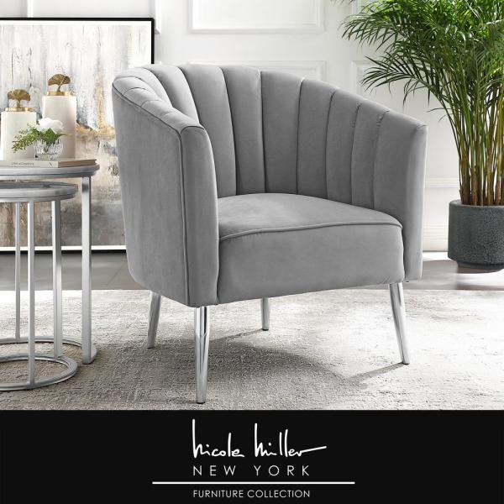 Terrific Nicole Miller Tibii Grey Chrome Velvet Accent Chair With Machost Co Dining Chair Design Ideas Machostcouk