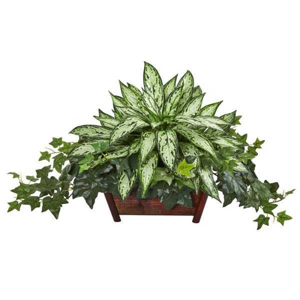 Nearly Natural Indoor Silver Queen and Ivy Artificial Plant in Decorative Planter