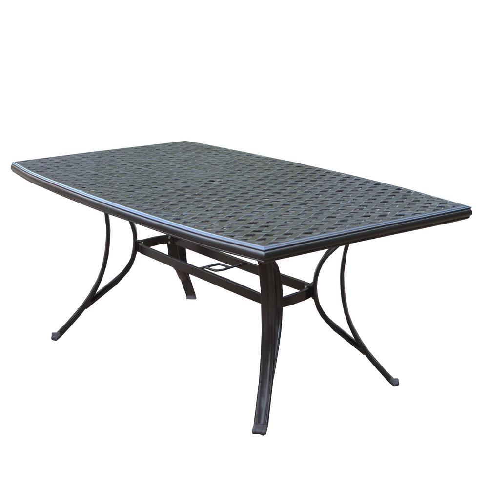 Modern Coffee Brown Rectangular Cast Aluminum Outdoor Patio Dining Table