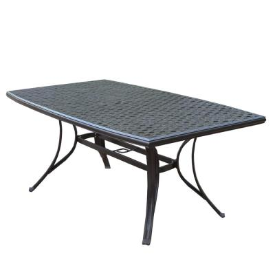 Modern Coffee Brown Rectangular Cast Aluminum Outdoor Patio Dining Table
