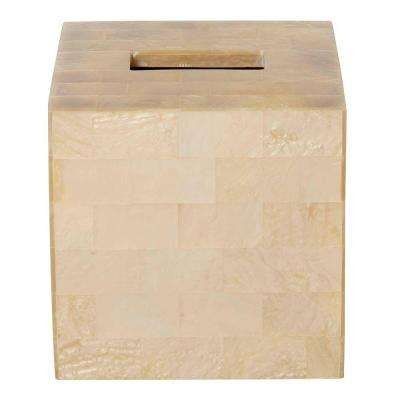 5.75 in. Tissue Box Cover in Mother of Pearl Tiles