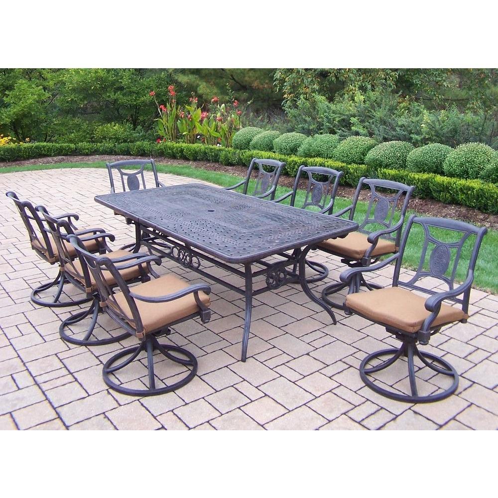 Extendable Cast Aluminum 9-Piece Rectangular Patio Dining Set with Sunbrella Cushions