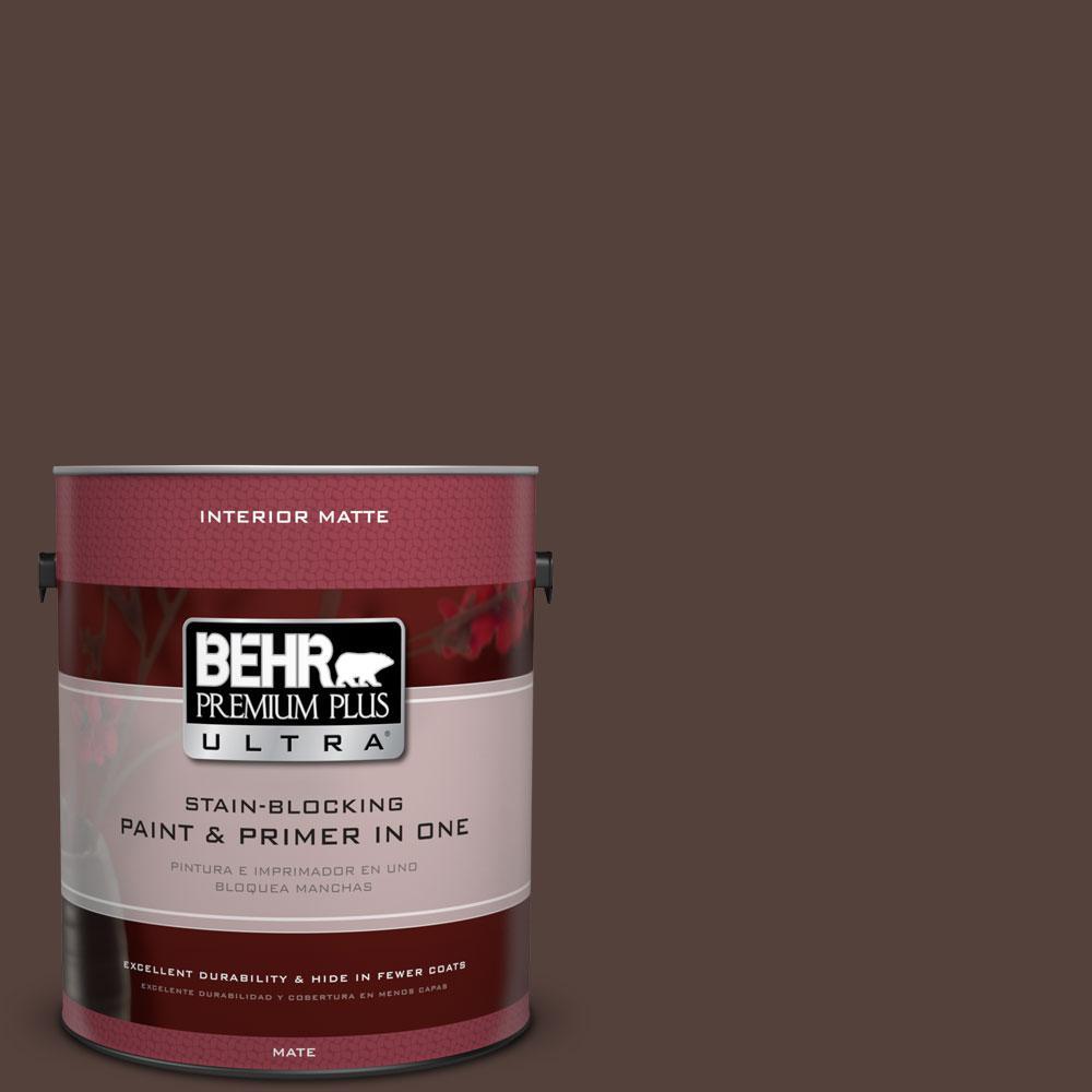 BEHR Premium Plus Ultra 1 gal. #PPF-51 Dark Walnut Flat/Matte Interior Paint