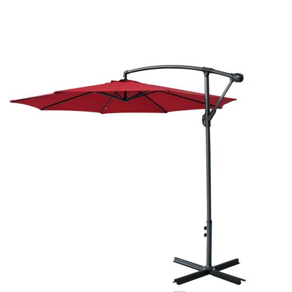 Casainc 9 Ft Iron Offset Cantilever Tilt Hanging Patio Umbrella In Wine Red Wf Hg61b0852 The Home Depot